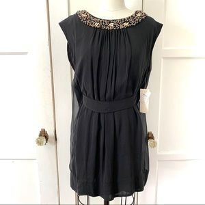 NWT French Connection Hans Beaded Black Silk Dress